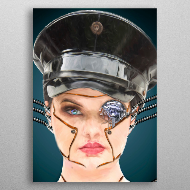 a scifi inspired portrait using mixed media computers and  photoshop metal poster