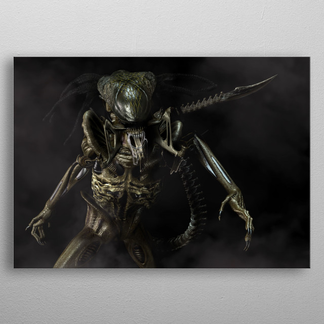 Imagine what the offspring of Alien and Predator might look like. metal poster