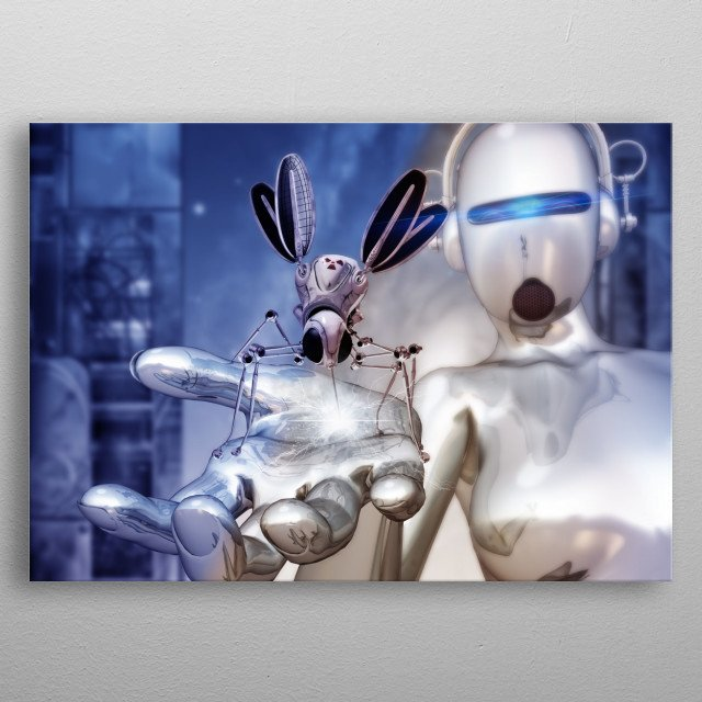 imagine a life after people when the inhabitants of the earth are cybernetic. metal poster