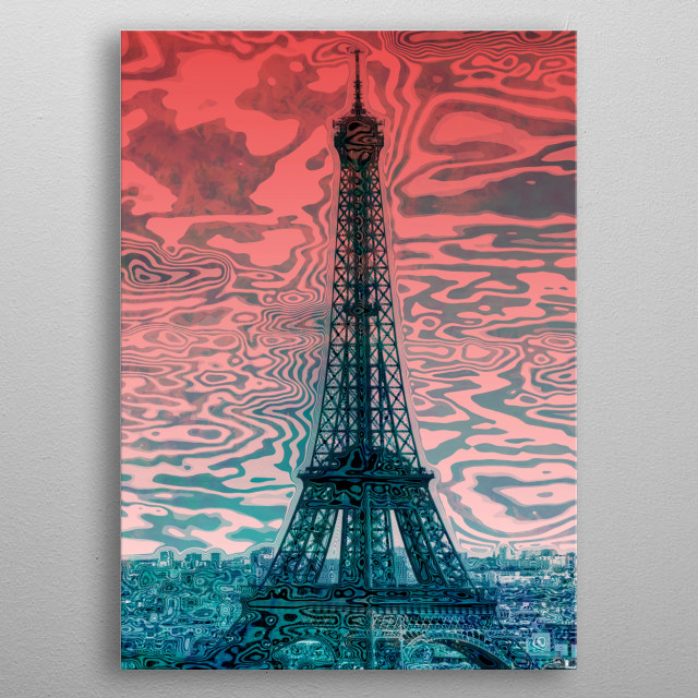 Eiffel Tower displayed in a very modern and decorative style with typographic elements as well as jazzy colours. metal poster
