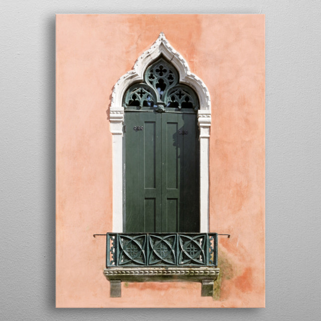 Moorish and or Byzantine architectural elements are evidenced in this Venetian door and balcony. Dark green on terra cotta and trimmed with w... metal poster