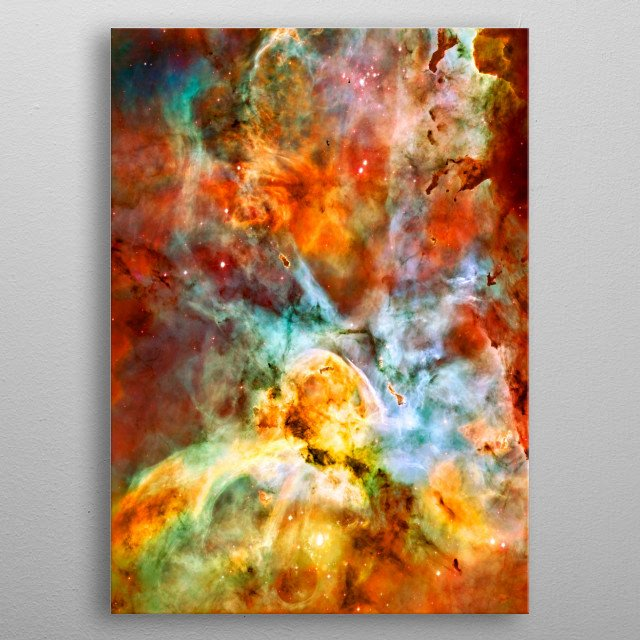 Digitally-enhanced version of an HST photo of the Carina Nebula. ESA/JPL metal poster