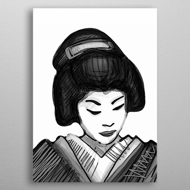 Hand drawn digital illustration or drawing of a japanese traditional geisha metal poster