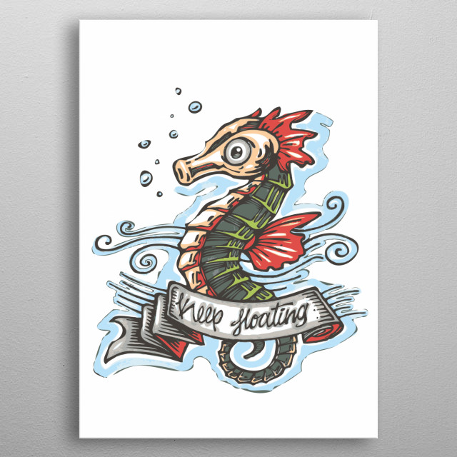 Hand drawn illustration or drawing of a retro vintage old school style seahorse swimming in the water metal poster