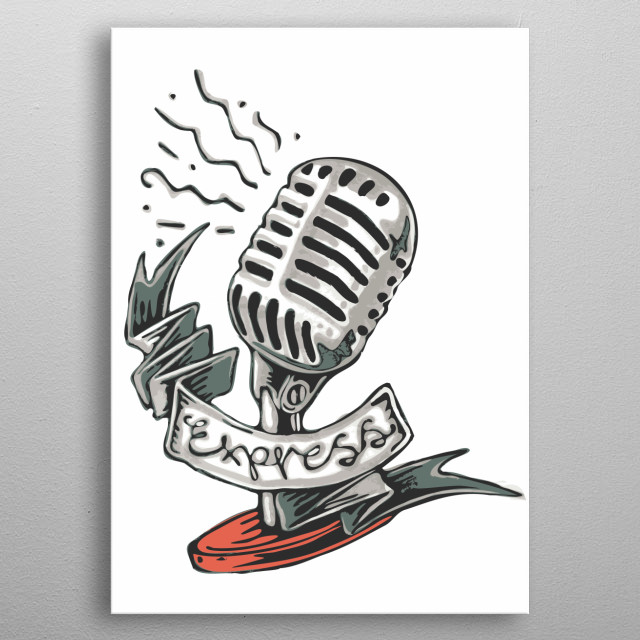 Hand drawn illustration or drawing of a retro microphone metal poster