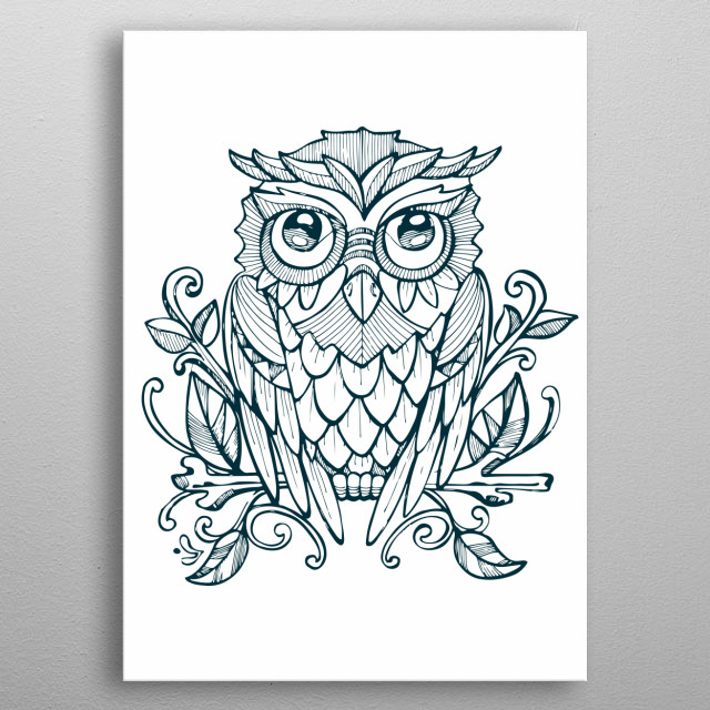 Hand drawn illustration or drawing of an owl on a tree branch metal poster