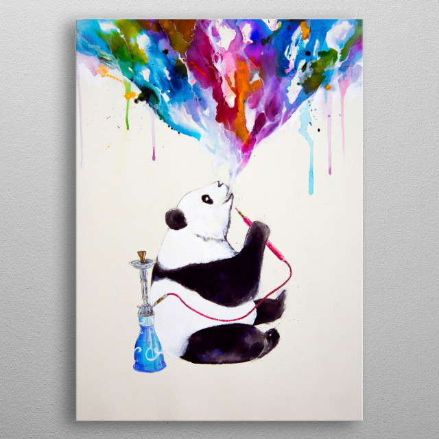 """""""Chai"""" my shisha panda from the Chilled Bears series of artworks. Made with ink and watercolor.  metal poster"""