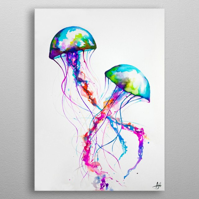 """""""Narasumas"""" by Marc Allante Ink jellyfish painting created in 2015  metal poster"""