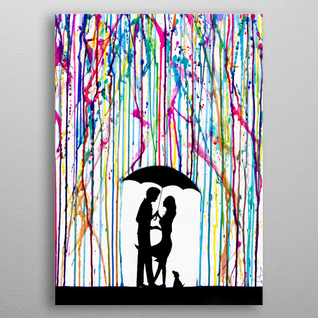 Two Step by Marc Allante  From the rain silhouette series created with ink on 300gsm cold press paper.  metal poster