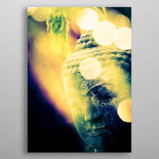 Head of Buddha Statue in Thailand metal poster