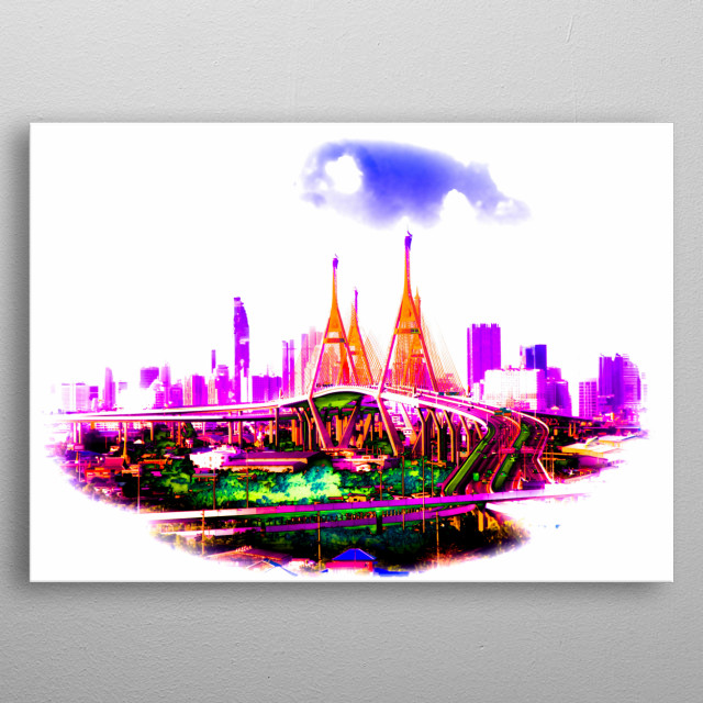 The Bhumibol Bridge from Kingdom of Thailand with skyline from bangkok metal poster