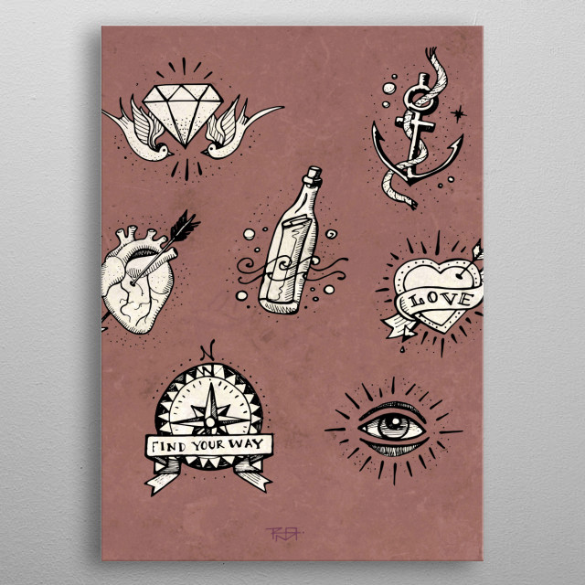 Hand drawn illustration or drawing of different old school tattoo designs metal poster
