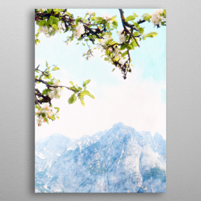 Pastel pink blue and green Austrian mountains and apple blossoms metal poster