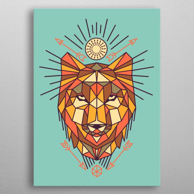 Geometric Wolf metal poster