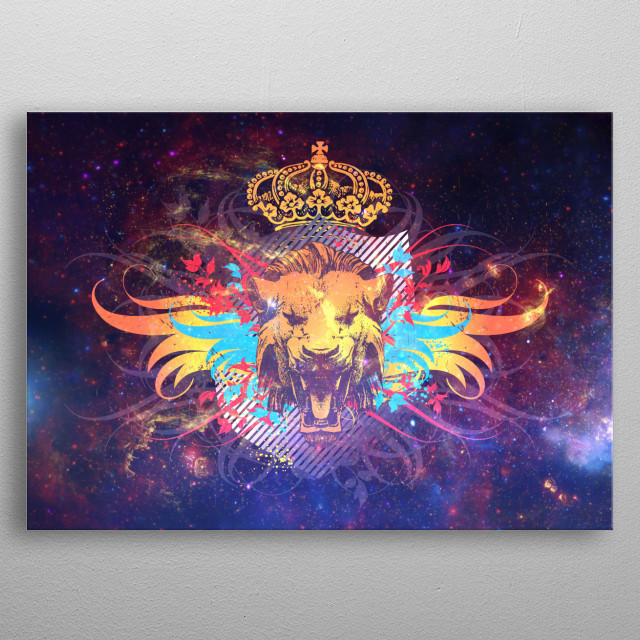 Lion's Galaxy metal poster
