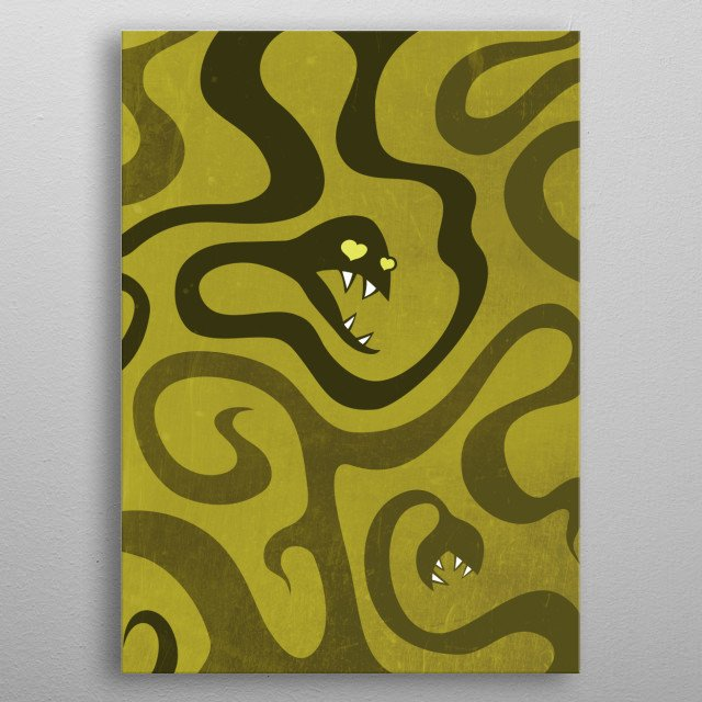 Funny cartoon snakes illustration with evil snakes resembling tentacles with sharp teeth on olive green grunge textured background. One of the funny snakes has a heart shaped eyes.  metal poster