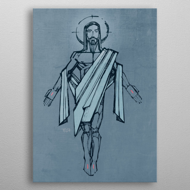 hand drawn illustration or drawing of Jesus Christ Resurrection metal poster