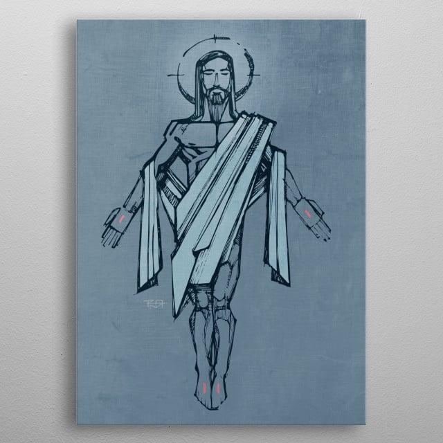 hand drawn illustration or drawing of Jesus Christ Resurrection metal poster