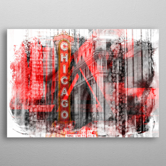 Chicago State Street | Geometric Mix No. 4 metal poster