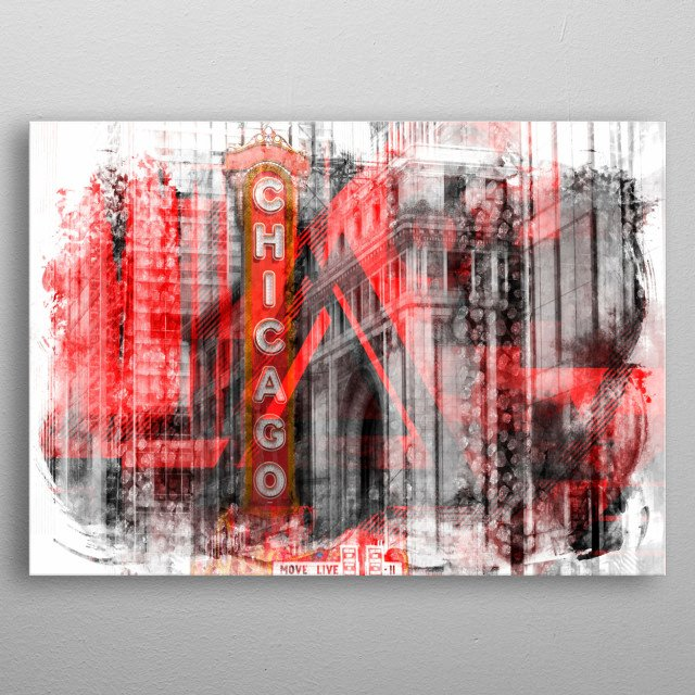 Modern and decorative composing with geometric shapes, brushstrokes and colour accents from State Street. Great urban canyon cityscape! metal poster