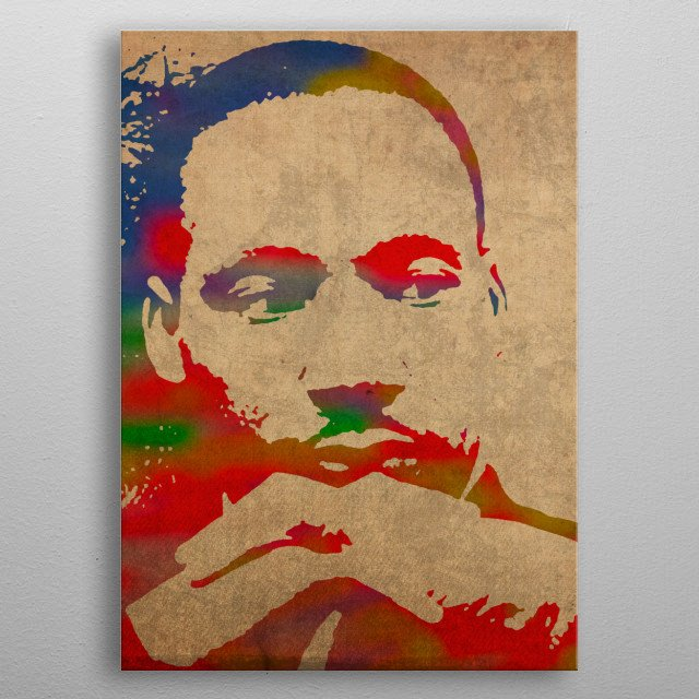 Martin Luther King Junior Watercolor Portrait metal poster