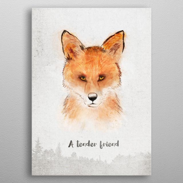 Spirits . Fox - A tender friend metal poster