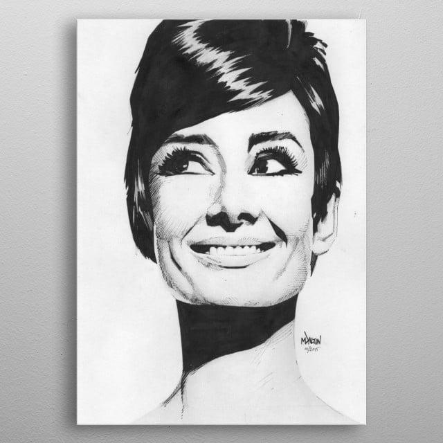 Audrey Hepburn. Created October 2015 metal poster