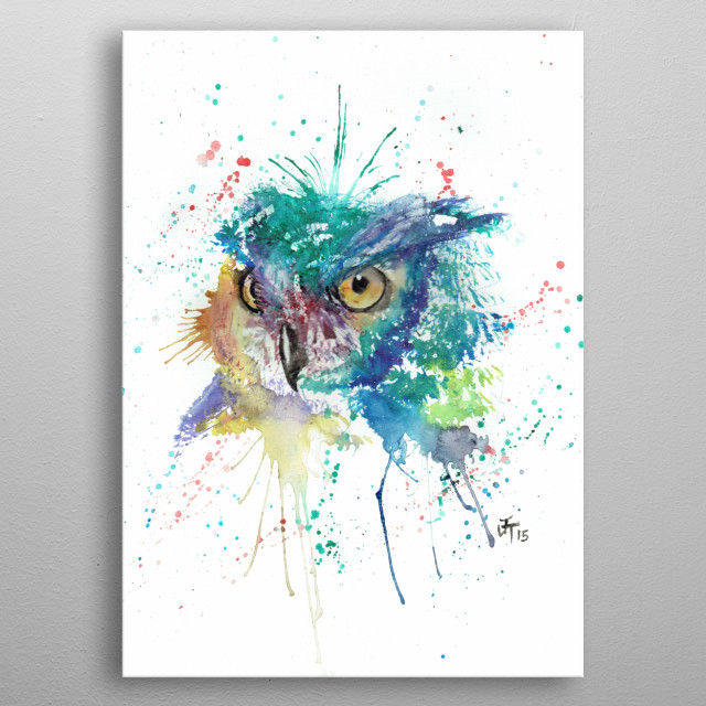 Wise, owl taken from my original watercolour painting metal poster