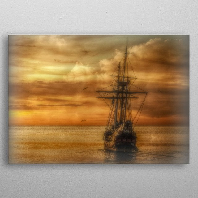 a digital image of a ghost ship sailing into the sunset metal poster