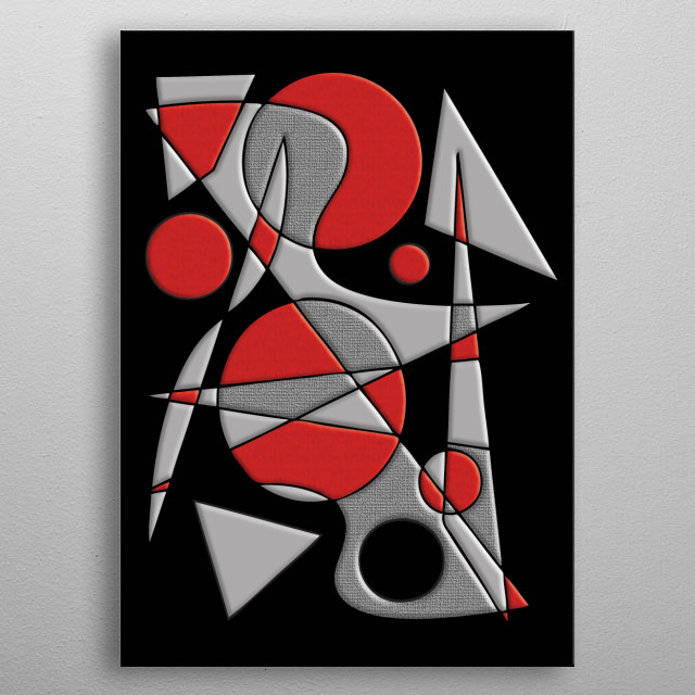 Abstract #284 Paladin is a geometric abstract in red, gray and black -- inspired by the art of Joan Miro -- by Rockett Graphics. metal poster