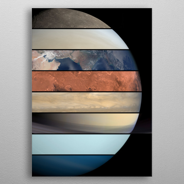 solar system collage metal poster
