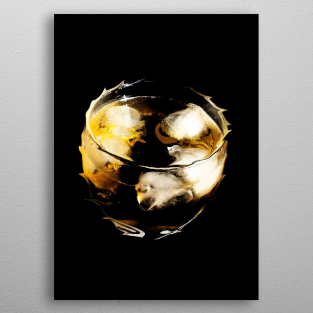 Whiskey glass metal poster