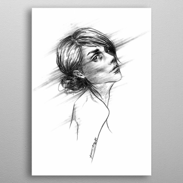 Just | Charcoal portrait sketch metal poster