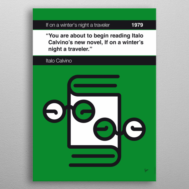 No014 MY If on a winter's night a traveler Book Icon poster  14. You are about to begin reading Italo Calvino's new novel, If on a winter's n... metal poster