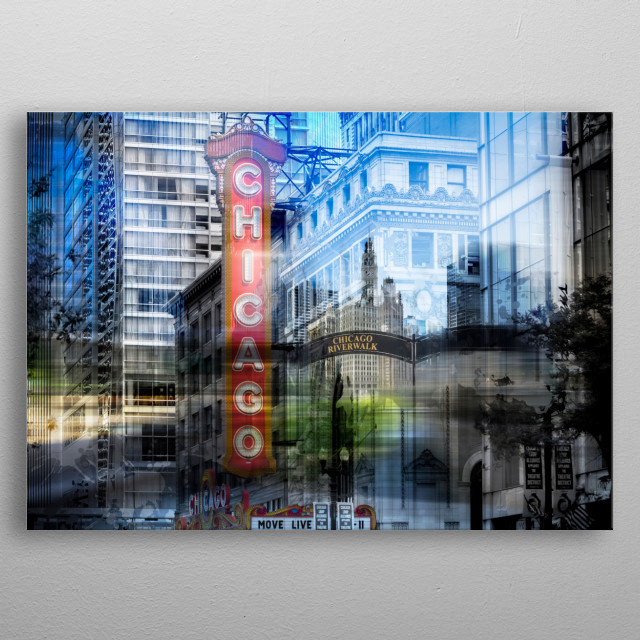 Modern and decorative composing with a downtown view of Chicago Riverwalk and North State Street in the Loop area. metal poster