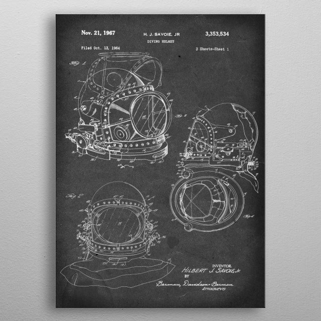 Diving Helmet - Patent #3,353,534 by H.J. Savoie Jr. - 1967 metal poster
