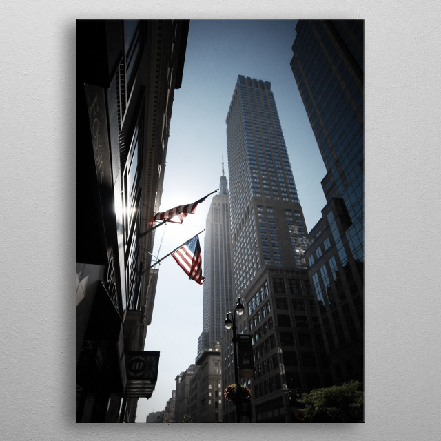 The Flags. Empire State Building, New York. metal poster