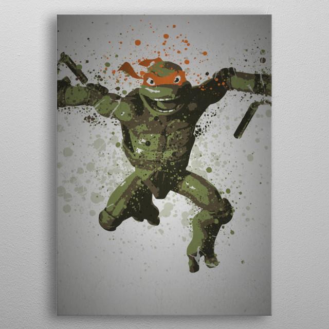 Michelangelo Splatter effect artwork inspired by the Teenage Mutant Ninja Turtles metal poster