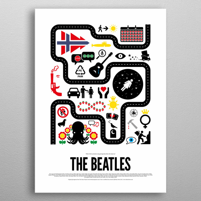 The Beatles pictogram poster - part of a series of posters, depicting the songs from different rock bands and artists, using simple pictograms.  metal poster
