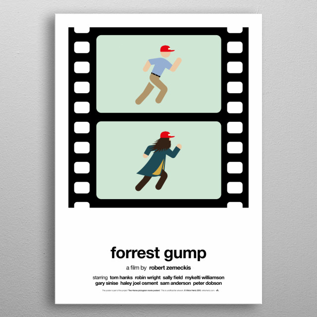 Forrest Gump - part of a series of posters, depicting and summarizing movies with two film frames only, using pictograms.  metal poster