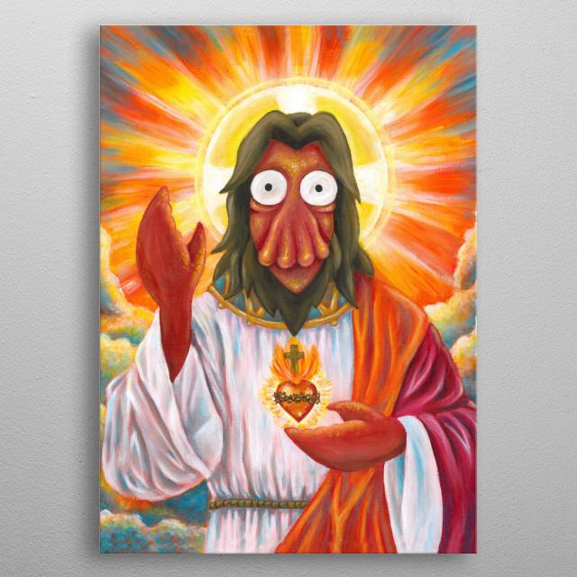 Zoidberg Jesus metal poster