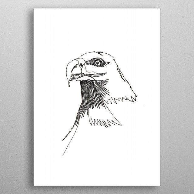 Bald Eagle, with one line. Line begins in the eye and ends at the bottom, going away from the head. metal poster