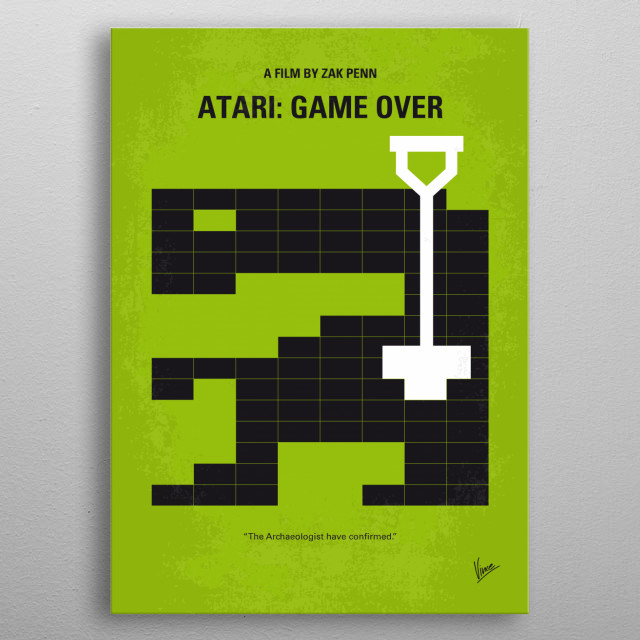 """No582 My ATARI GAME OVER minimal movie poster  A crew digs up all of the old Atari 2600 game cartridges of """"E.T. the Extra-Terrestrial"""" that were tossed into a landfill in the 1980s. metal poster"""