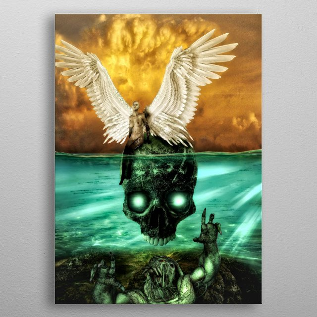 Cthulhu: The devil and the deep blue sea. A homage to the fantasy tales of good versus evil in H.P. Lovecraft's famous books. metal poster