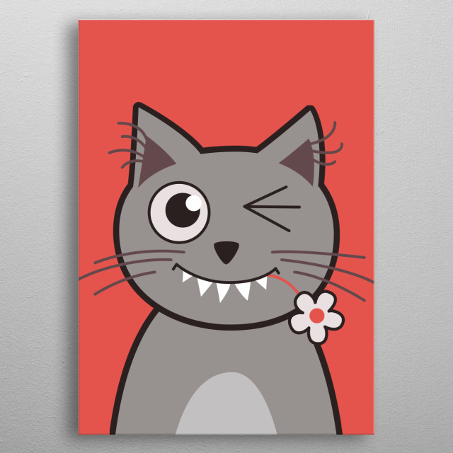 Cute vector illustration of a winking kitty cat with sharp teeth, hairy ears and a flower in its mouth. metal poster