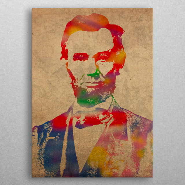 Abraham Lincoln Watercolor Portrait metal poster