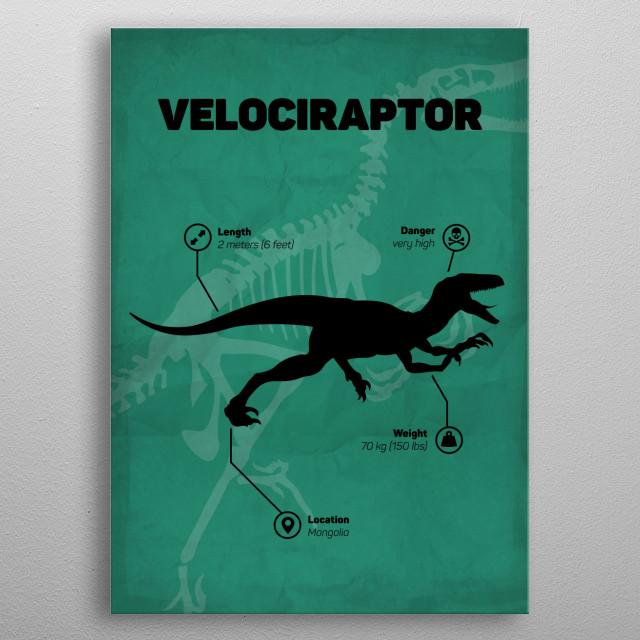 Velociraptor (inspired by Jurassic World) metal poster