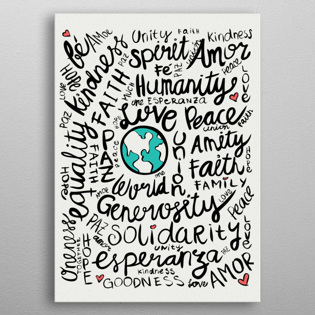 World Positive Messages metal poster