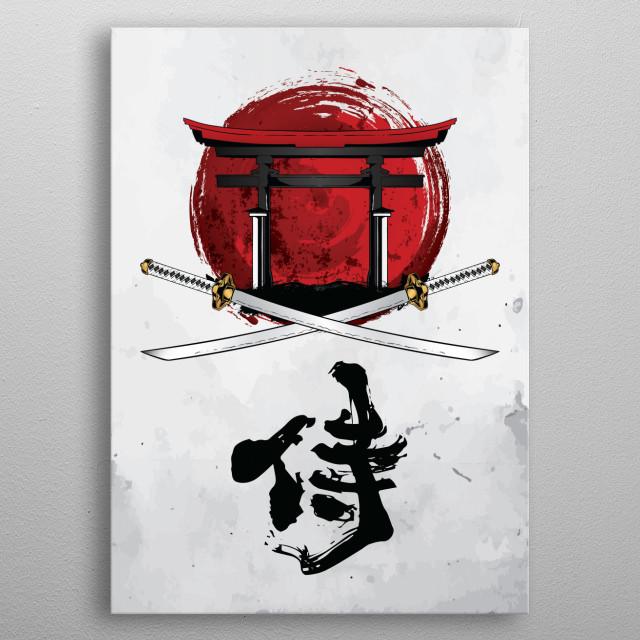 Samurai Katana, Tori Gate and Kanji metal poster