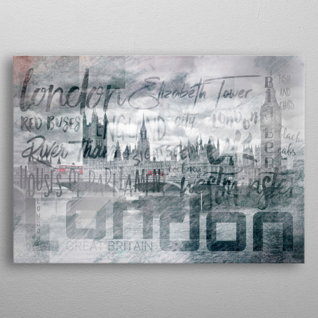 A typically London cityscape with red buses on Westminster Bridge. A modern and impressive artwork with Houses of Parliament and typography. metal poster